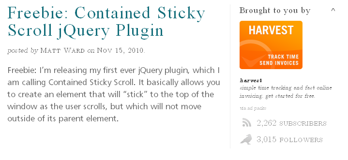 Freebie- Contained Sticky Scroll jQuery Plugin 
